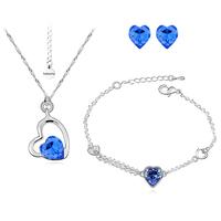 Бижута SWAROVSKI® SWEET HEART Sapphire, Син, Колие, обеци и гривна (8, 6 и 10 мм),  Код PR S116-3