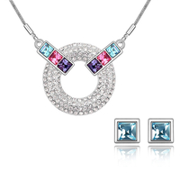 Бижута SWAROVSKI® BLUE MOOD Aquamarine AB - Светло син, Колие и Обеци,  Код PR S123
