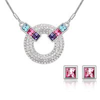 Бижута SWAROVSKI® PINK MOOD Light Rose AB - Розов, Колие и Обеци,  Код PR S124