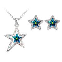 Бижута SWAROVSKI® BRIGHT STAR Vitrail Medium** VM, Зелен, Колие с обеци,  Код PR S130